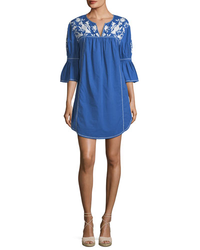 Clodagh Split-Neck Cotton Dress with Floral-Embroidery