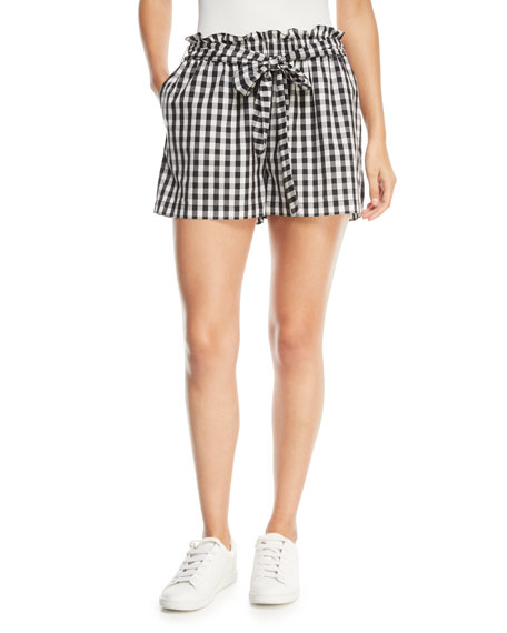 Joie Cirila Short-Sleeve Gingham-Print Cotton Top and Matching