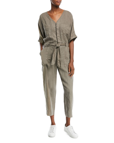 Joie Frodina Elbow-Sleeve Straight-Leg Linen Jumpsuit