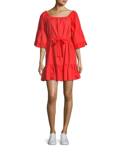 Colstona Cotton Square-Neck Mini Dress