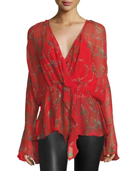 Iro Linette Surplice Long-Sleeve Printed Chiffon Blouse