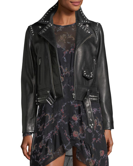 Iro Guara Zip-Front Studded Moto Jacket