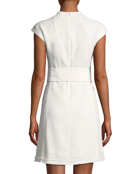 Mod Belted Spring Boucle Dress