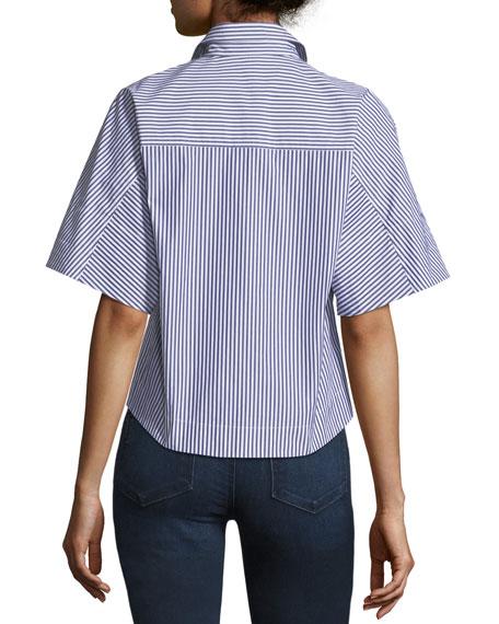 Cropped Button-Down Hartman Striped Shirt