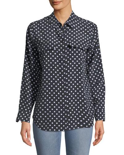 Dot-Print Button-Front Silk Slim Signature Shirt