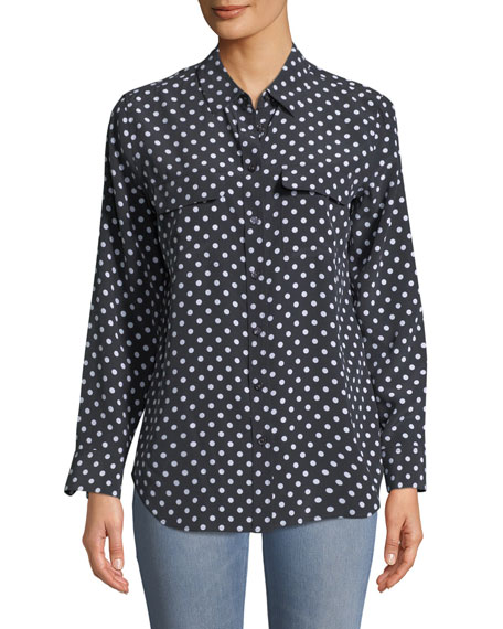 Dot-Print Button-Front Silk Slim Signature Shirt