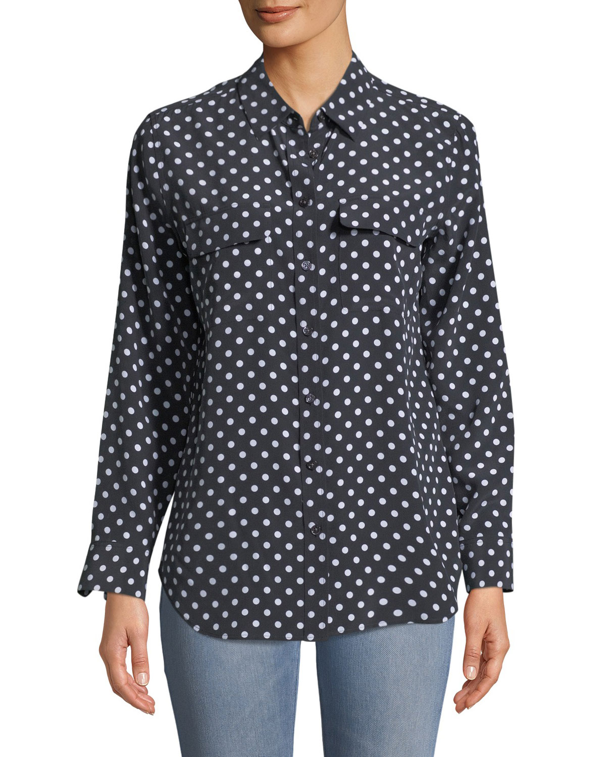 3f46085244b Equipment Dot-Print Button-Front Silk Slim Signature Shirt