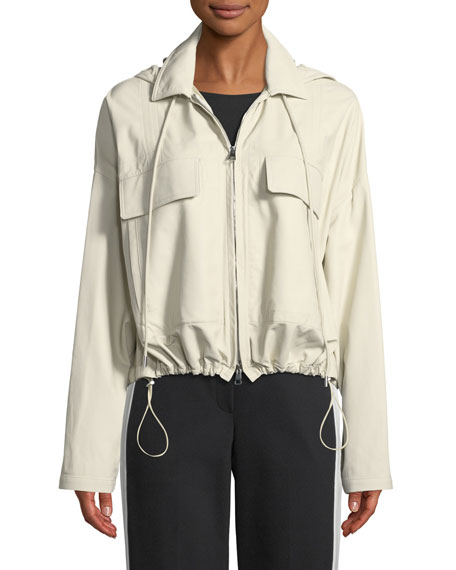 Hooded Cropped Anorak Napa Leather Jacket