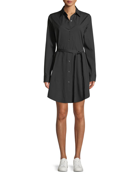 Long-Sleeve Stretch-Cotton Clean Shirtdress