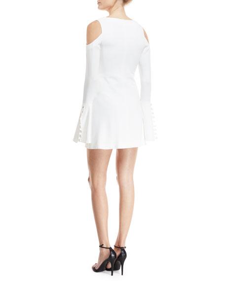 Galen V-Neck Bell-Sleeve Button-Trim Mini Dress