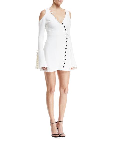 Alexis Galen V-Neck Bell-Sleeve Button-Trim Mini Dress