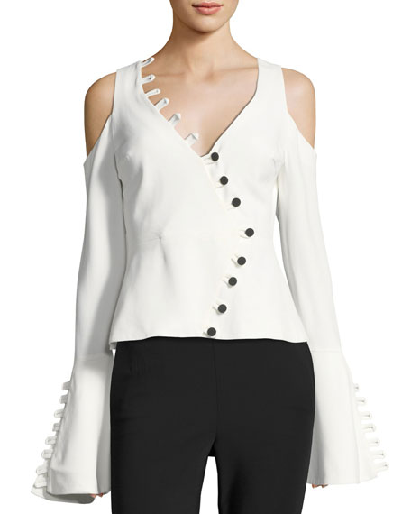 Alexis Noere Bell-Sleeve V-Neck Top with Button Trim