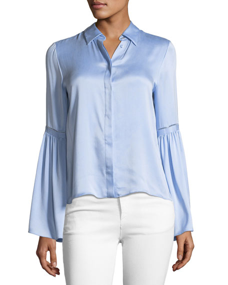 Alice + Olivia Bolton Button-Down Bell-Sleeve Shirt
