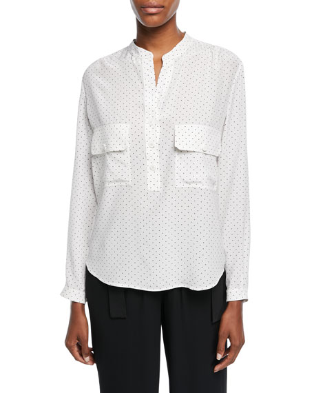 Polka-Dot Long-Sleeve Silk Utility Shirt