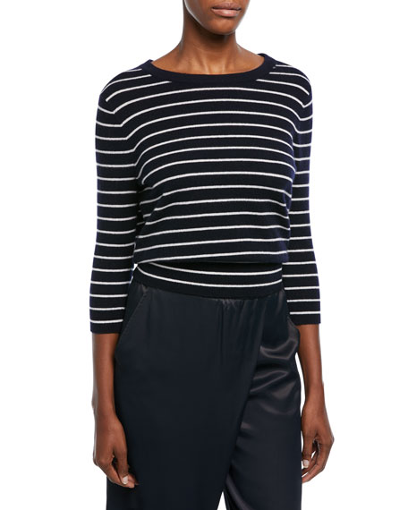 Vince Striped Cashmere Self-Tie Back Shirt and Matching