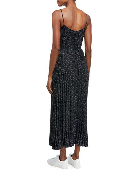 Polka-Dot Pleated Cami Dress