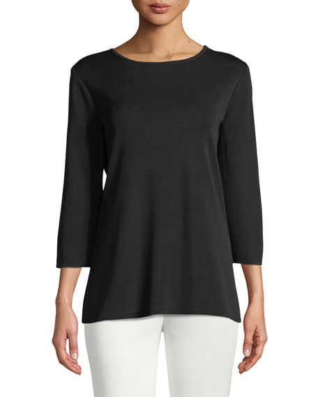 Plus Size 3/4-Sleeve Layering Shell