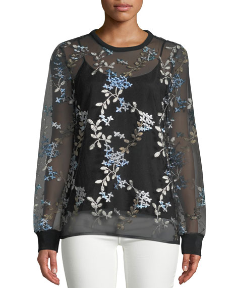Val Floral-Embroidered Top
