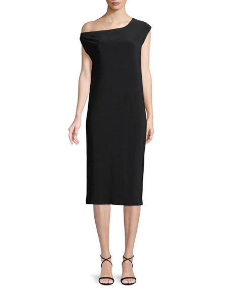 Short-Sleeve Drop-Shoulder Midi Dress