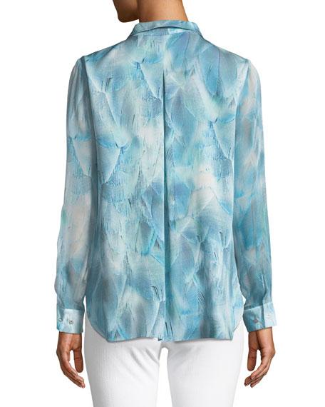 Martha Feather-Print Silk Blouse