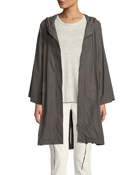Hooded Organic Cotton/Nylon Anorak Jacket, Plus Size