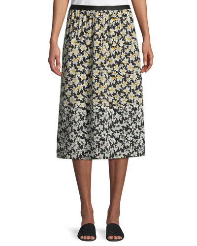 Oliver Daffodil-Print Silk Midi Skirt