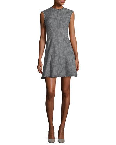 Sleeveless Slub Twill Fit-and-Flare Short Dress