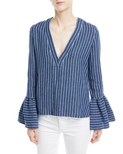 Pearce V-Neck Bell-Sleeve Striped Linen Top