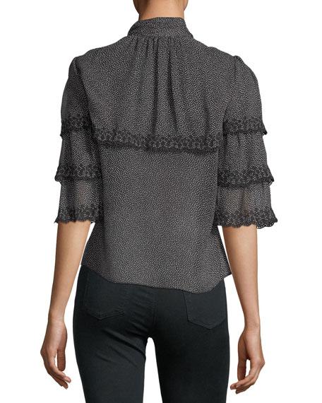 Rebecca Taylor Half-Sleeve Pebble-Print Ruffled Silk Top