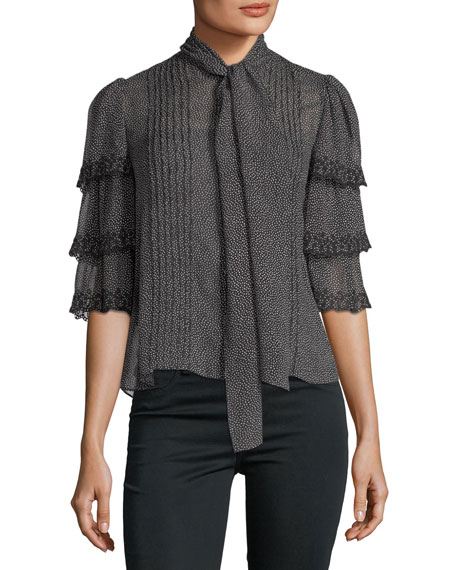 Rebecca Taylor Half-Sleeve Pebble-Print Ruffled Silk Top
