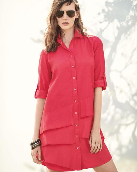 Jenna Easy Ruffle-Tiered Shirtdress