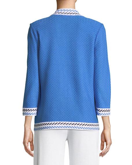 Plus Size Contrast-Trim Textured Jacket
