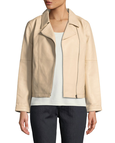 Eileen Fisher Lightweight Drapey Leather Moto Jacket and