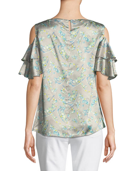 Layla Lily-Print Cold-Shoulder Silk Top