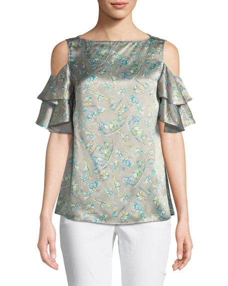 Lafayette 148 New York Layla Lily-Print Cold-Shoulder Silk