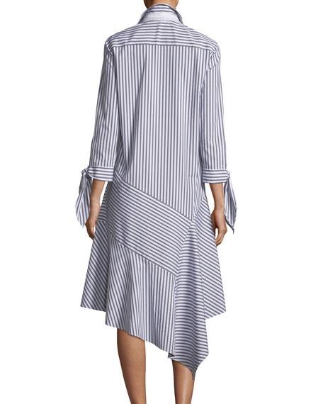 Lafayette 148 New York Leighton Striped Asymmetric-Hem Dress