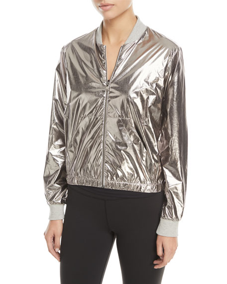 Zip-Front Metallic Bomber Jacket