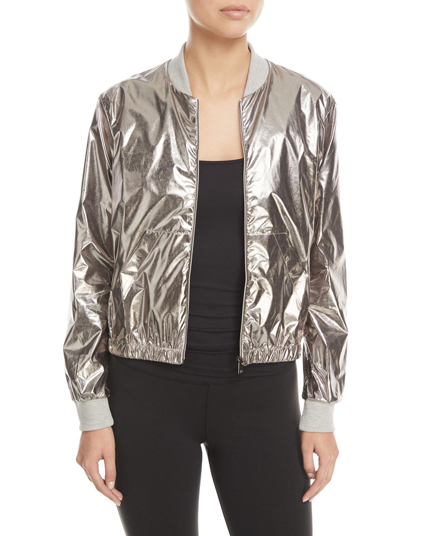Heroine Sport Zip Front Metallic Bomber Jacket Neiman Marcus