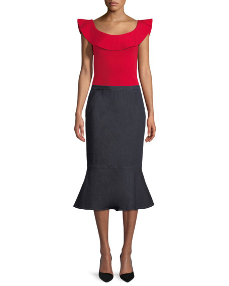 Elie Tahari Eavanna Flounce-Hem Pencil Skirt