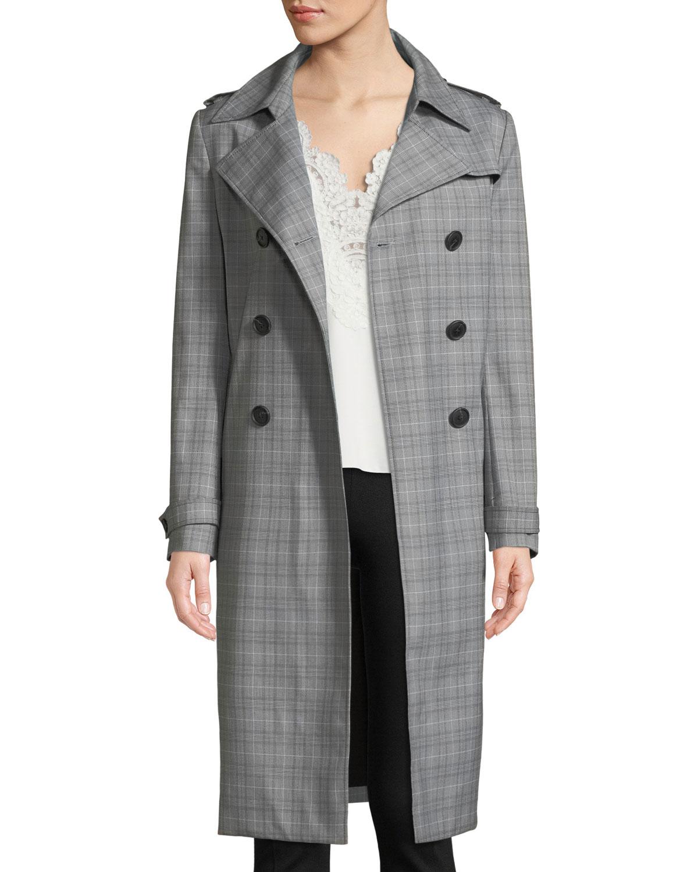 c61916995c277 Elie Tahari Watson Plaid Trench Coat