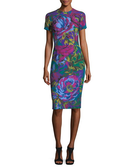 Fractured Floral Short-Sleeve Sheath Dress