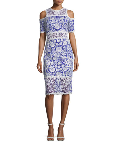 Lace Cold-Shoulder Sheath Cocktail Dress
