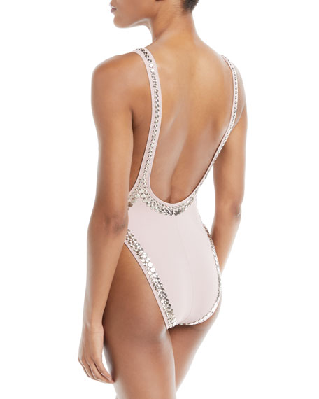 Marissa Scoop One-Piece Swimsuit with Stud Details