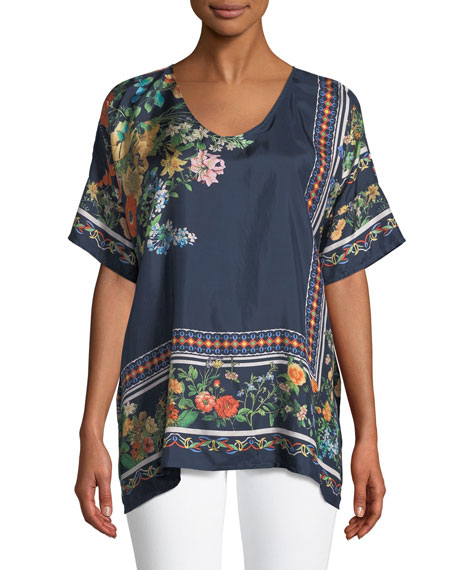 Johnny Was Rosanna Floral-Print Silk Top, Plus Size