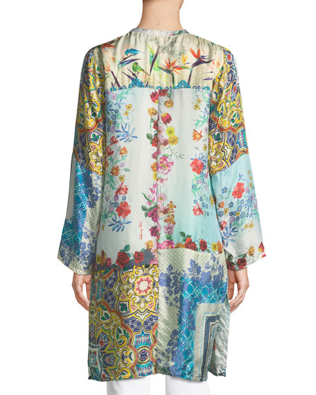 Witteau Button-Front Graphic Silk Cardigan, Plus Size