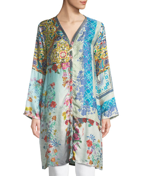 Plus Size Witteau Button-Front Graphic Silk Cardigan