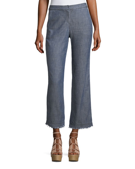 Trina Turk Crosshatch Chambray Bootcut Pants and Matching