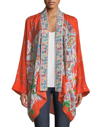 Summer Paisley Silk Kimono Cardigan