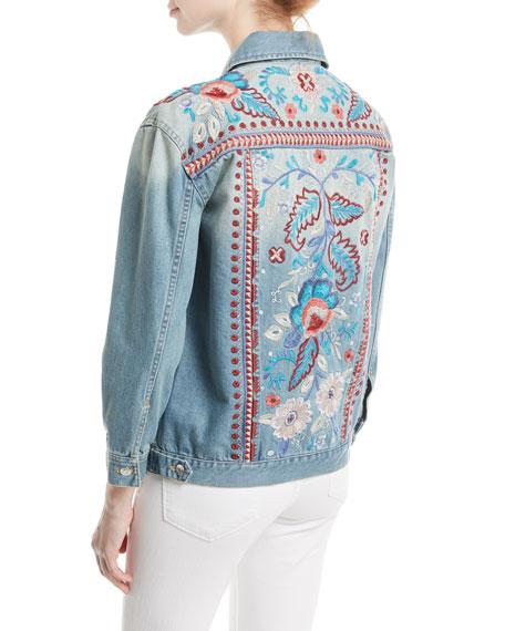 Oman Embroidered Denim Jacket, Plus Size