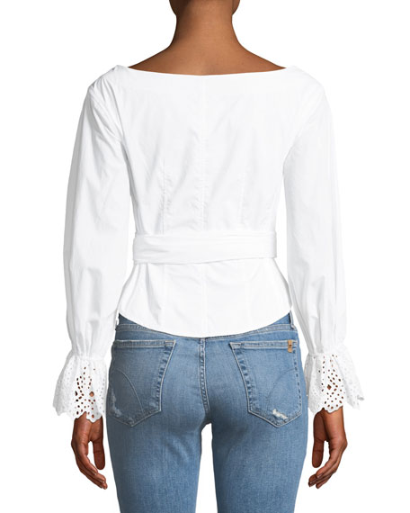 Long-Sleeve Button-Down Eyelet Poplin Top
